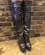 Señoras a la rodilla muslo alto Brown botas de plataforma size UK 6 EU 39 Excelente