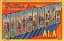 Linen Era, Large Letter, Montgomery, AL, Alabama, Old Postcard