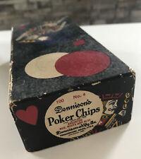 Vintage Dennison's Poker Chips 97 No. 4 red white tan blue @1927 Fleur-de-Lis