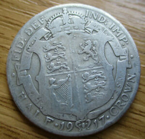Collectable Grade 1917 Half Crown Sterling Silver .925 George V