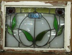 """OLD ENGLISH LEADED STAINED GLASS WINDOW Pretty Flower Design 23.25"""" x 17.25"""""""