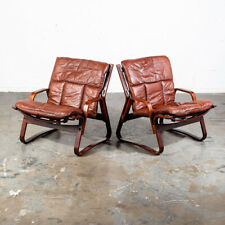 Mid Century Danish Modern Lounge Chair Teak Wood Faux Leather Brown Denmark Mcm