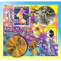"""BLOC CNEP N°_35 """"Adieu le Franc, Bonjour l' €uro"""" 2002"""