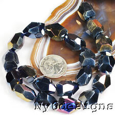 """*20mm Blue Crystal (AB) Facet Nugget Beads 15""""(CR118)c"""