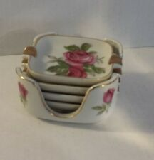 VINTAGE LEFTON CHINA 4 ASHTRAY & CADDY SET Pink Hand Painted Roses JAPAN Holder