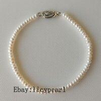 Mini Perle Armband, AAA 3mm weiß Süßwasser Perle Armband,19cm