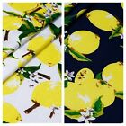 "150cm 59""Wide White Yellow Lemon Print Rayon Viscose Fabric Soft Cool for Summer"