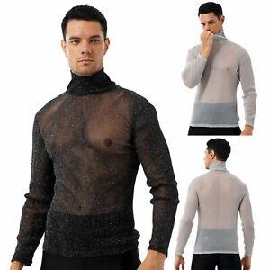 Men's Sexy Shiny See-through T-shirt High Neck Long Sleeve Tops Night Clubwear