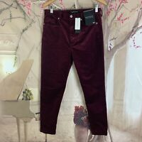 NEW Banana Republic High Rise Corduroy skinny Jeans Burgundy Size 30 Petite