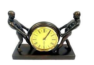 "JB HIRSCH FRANCAISE COLLECTION STRONGMEN BRONZE 9 3/8"" QUARTZ MANTEL CLOCK 1925-"