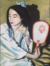 """Original Painting """"Girl with a Fan"""", Acrylic on Canvas, 12""""x16"""", by C. Pecharka"""