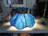 "LARGE ANTIQUE 20"" BLUE PANELS LEADED SLAG GLASS Electric HANGING LAMP WORKS"