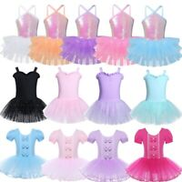 Child Girls Ballet Dance Tutu Dress Kids Gymnastics Leotard Bowknot Dancewear