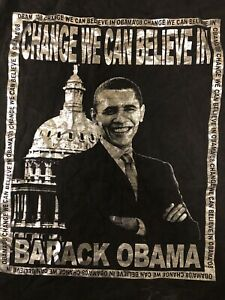 Barack Obama Change We Can Believe in Obama 08 Black and Silver 3XL Tall Tshirt