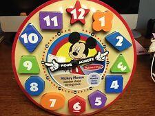 Mickey Mouse Melissa & Doug woodenn shape sorting clock