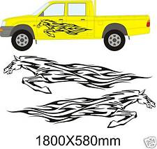 LARGE LEAPING HORSE FLAMES FIT HORSE BOX, PICKUP, DECALS GRAPHICS STICKERS 609