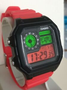 Unique Custom Casio AE-1200 Royale Hybrid Stealthed MOD Black Case Red Strap