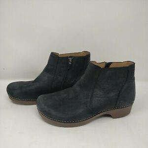 Dansko Barbara Black Nubuck Leather Bootie Womens Size 8.5-9 EUR 39 Ankle Boot