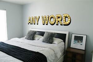 Light up illuminated effect letters trendy wall sticker decal art personalised