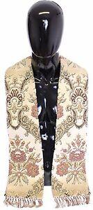 NEW $550 DOLCE & GABBANA Scarf Stole Men's Beige Silk Jacquard Shoulder Priest