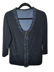 GERRY WEBER Zip Top Cardigan Size 12 Blue Cotton Denim Look Ruffle Pockets
