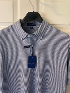Peter Millar Crown Crafted Tailored Fit Performance Polo Large Brown Stripe