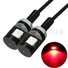2x Red LED Universal Motorcycle Car License Plate Bolt Screw Light Lamp Bulb US