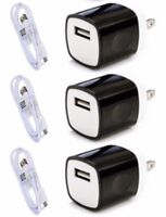 3x USB Home Charging Kits - 8-Pin Cords + Wall Chargers For iPhone 8 7 6s 6 5s
