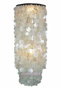 Muschellampe 1 Meter CAPIZ LAMPE Perlmutt rund samoa Dekoleuchte NATUR weiss NEU