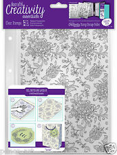 Docrafts Papermania A5 FLORAL BACKGROUND flowers stamp set + storage folder
