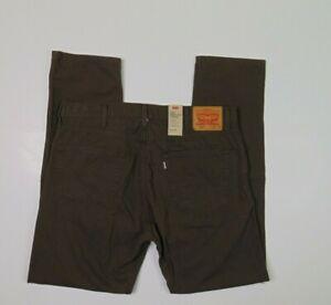 NEW Levis 502 Men 38 x 34 Brown Regular Fit Taper Leg Khaki Pants Stretch Cotton