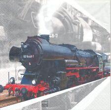 Lot de 2 Serviettes en papier Train Locomotive Decoupage Collage Decopatch