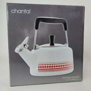 Chantal | The Frieda Teakette, White/Red 1.4 Qt Capacity ** New **