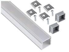 Aluminium Aufbau Alu Profil 2m + Abdeckung opal + Endkappe - für LED Stripe Band