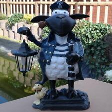 Dekofigur Schaf Molly,Kapitän mit Solarlaterne Deko Gartenteich Gartenfigur