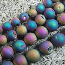 Metallic Titanium Coated Natural Druzy Quartz Agate Round Beads 6 8 10 12 14mm