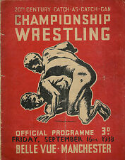 CATCH AS CATCH CAN CHAMPIONSHIP WRESTLING PROGRAMME 1938, BELLE VUE, MANCHESTER