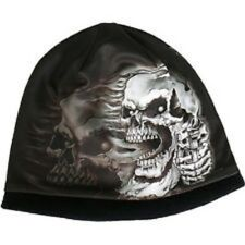 HD Sublimation Black White Assassin Skull Gangster Biker Stocking Cap Beanie Hat