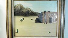 SURREALISM Western Painting on Board 1970 Signed ORIGINAL Mid Century Folk Art