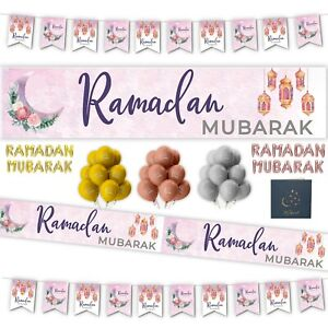 RAMADAN MUBARAK Party Decorations Banners Ramadhan Flags Chains Bunting FLORAL