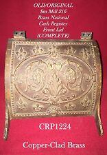 Old Sm Rare Mdl. 216 Brass Nat'l Candy Store Cash Register Front Lid - Complete!