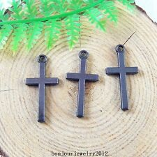 51226 Gun Black Alloy Christian Cross Shape Charms Findings Jewelry Craft 59x