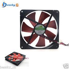 Best silent 140mm pc case cooling fans 14cm DC 12V 4D plug computer cooler Red