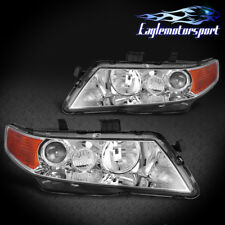 2004-2008 Acura TSX Chrome Factory Style Projector Headlights Head Lamps Pair