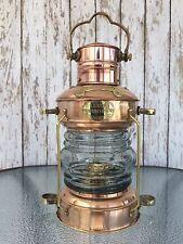 Brass & Copper Anchor Oil Lamp ~ Nautical Maritime Ship Lantern ~ Boat Light