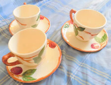 FRANCISCAN Vintage APPLEWARE 3 CUPS and SAUCERS Gladding McBean & Co California