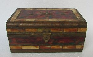 Vintage Handcrafted Wooden Brass Bone Fitted Jewellery Box, Collectible