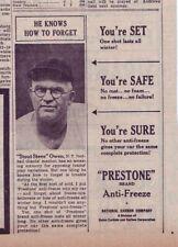 "1952 newspaper ad for Prestone - New York Giants manager ""Stout"" Steve Owen"