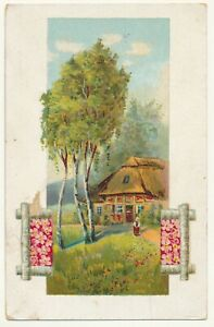 Painting post card 1928 - house and birch trees