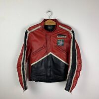 90s Vintage Rare Men's KAWASAKI Racing Bike F1 Motorcycle Red Jacket Size 50